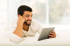 Indian man tablet computer Stock Photography