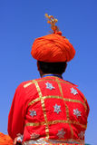 Indian man in traditional clothes taking part in Desert Festival Stock Photos