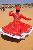 Indian man in traditional dress dancing at Desert Festival, Jais Stock Images