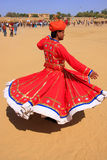 Indian man in traditional dress dancing at Desert Festival, Jais Royalty Free Stock Image