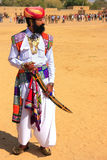 Indian man in traditional dress taking part in Mr Desert competi Stock Photo