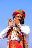 Indian man in traditional dress taking part in Mr Desert competi Stock Images