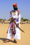 Indian man in traditional dress taking part in Mr Desert competi Royalty Free Stock Images
