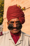 An Indian man in uniform with a beautiful mustache Stock Photo