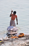 Indian Man Washing Clothes Royalty Free Stock Photos