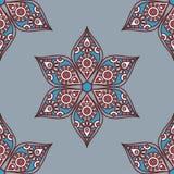 Indian mandala pattern. Vector seamless traditional ethnic oriental pattern. Colorful folkloric textile design with stylized sun symbols- round mandala Stock Photography