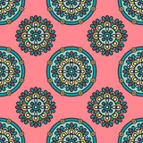 Indian mandala pattern. Vector seamless traditional ethnic oriental pattern. Colorful folkloric textile design with stylized sun symbols- round mandala Royalty Free Stock Photography