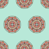 Indian mandala pattern. Vector seamless traditional ethnic oriental pattern. Colorful folkloric textile design with stylized sun symbols- round mandala Royalty Free Stock Photos