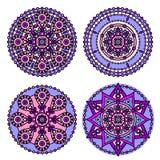 Indian mandala set. Vector traditional indian mandala. Orient tribal circle sign illustration.Colorful ethnic design element Royalty Free Stock Photos