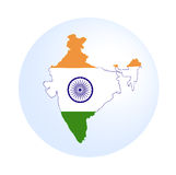 Indian map with flag. Isolated in white background Royalty Free Stock Image