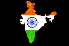 Indian map and flag. In black background Stock Illustration