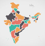 Indian Map with regions and modern round shapes Stock Photo