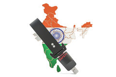 Indian map with safety belt. Security and protect or insurance c Royalty Free Stock Image