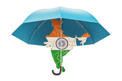 Indian map under umbrella. Security and protect or insurance con Stock Images