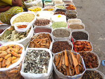 Indian Market-Spices. A variety of spices in plastic bags for sale in indian market Royalty Free Stock Photo