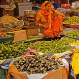 Indian Market Trader and Wares Stock Images