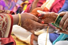Indian marriage rituals and sharing stock image