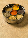 Indian masala box. Photo of a Masala box containing turmeric, fenugreek, coriander, garam masala, black mustard seeds, red chilli, and cumin seeds Royalty Free Stock Image