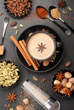 Indian masala chai and spices. Tea with milk and spicy Royalty Free Stock Image