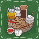 Indian masala chai tea and jug honey and milk. Traditional food of Indian cuisine, pieces of flatbread with sauces and curd cheese, on wooden plate and masala Stock Images