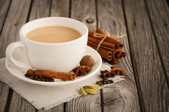 Indian masala chai tea. Spiced tea with milk. Stock Image