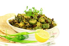 Indian masala fried okra bhindi or ladyfinger curry with tortilla Royalty Free Stock Image