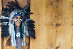 Indian mask. On the wooden background Stock Image