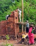 Indian mason laborers. Building a brick wall stock image