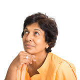 Indian mature woman thinking Royalty Free Stock Photography