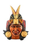 Indian Mayan Aztec ceramic painted mask isolated on white. Indian Mayan Aztec ceramic painted mask with feather isolated on white Royalty Free Stock Photography