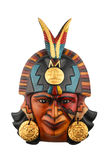 Indian Mayan Aztec ceramic painted mask isolated on white. Indian Mayan Aztec ceramic painted mask with feather isolated on white Stock Image