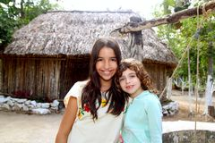 Indian mayan latin girl with her caucasian friend Stock Images