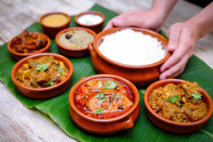 Indian meal with braised pork, curry and plain rice on banana le stock image