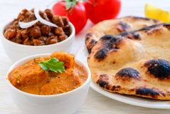 Indian Meal with Chicken curry Stock Photos