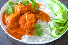 Indian Meal -Chicken curry with rice and salad Stock Photography