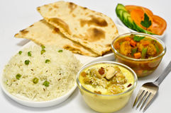 Indian Meal with Chicken korma. Indian meal consisting of chicken korma as the main dish, along with vegetable curry,Indian Bread,Rice and Salad Royalty Free Stock Images