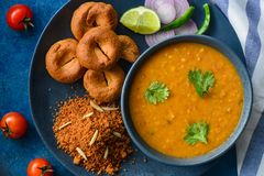 Indian meal-Dal baati churma. Traditional Rajasthani meal dal bati churma Stock Photos