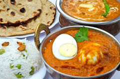 Indian meal with egg curry. Masala,Dal makhani,Tandoori Roti and Rice Stock Photos