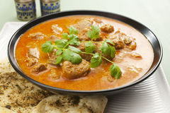 Indian Meal Food Curry Lamb Rogan Josh Naan Bread Stock Photos