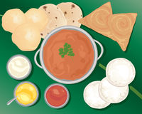 Indian meal. An illustration of a delicious indian meal with poori chapatti idly dosa and various curry dishes on a banana leaf stock illustration