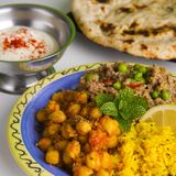 Indian Meal with Naan Royalty Free Stock Images