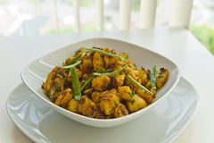 Indian Meal of potatoes. Hot and spicy jeera aloo Royalty Free Stock Images