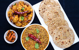 Indian meal vegetarian dinner lunch Royalty Free Stock Photos