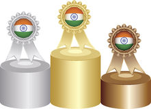 Indian medal labels. On podium Royalty Free Stock Photo
