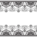 Indian mehndi border element with flowers pattern card for tattoo on white background. Royalty Free Stock Photos