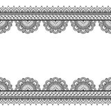 Indian mehndi henna border elements with flowers pattern card for tattoo on white background. Royalty Free Stock Photo