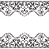 Indian, Mehndi Henna line lace border element with flowers pattern card for tattoo on white background Stock Photos