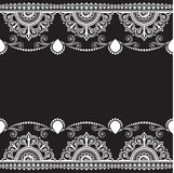 Indian, Mehndi Henna line lace element with flowers pattern card for tattoo on black background Stock Photo