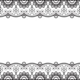 Indian, Mehndi Henna line lace element with flowers pattern card for tattoo on white background Royalty Free Stock Images