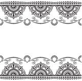 Indian, Mehndi Henna line lace element with flowers pattern card for tattoo on white background Royalty Free Stock Photos